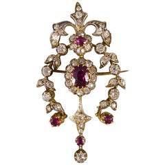 Antique Late Victorian Ruby and Diamond Brooch Pendant in Gold and Silver