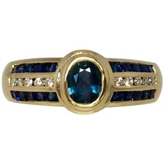 18k Blue Sapphire & Diamond Designer Ring 1 Carat Yellow Gold Rubover Bezel Set
