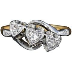 Antique Edwardian Diamond Heart Trilogy Ring Platinum 18 Carat Gold