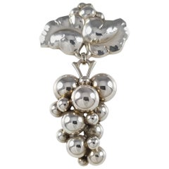 Harald Nielsen Georg Jensen Danish Sterling Silver Moonlight Grapes Brooch