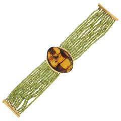 Peridot 18 Karat Yellow Gold Amber Cuff Bracelet