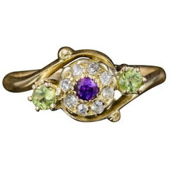 Antique Victorian Fancy Suffragette Cluster Ring 18 Carat Gold, circa 1900