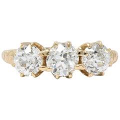 Victorian 1.65 Carat Diamond 14 Karat Gold Three-Stone Ring