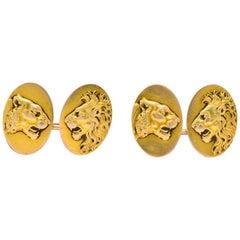 Victorian B.K. & Co. 14 Karat Gold Lion Cufflinks