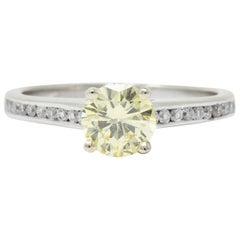 0.79 Carat Fancy Yellow Diamond 14 Karat White Gold Engagement Ring GIA