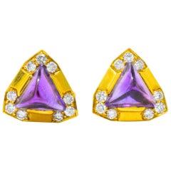 Contemporary 0.55 Carat Amethyst Diamond 18 Karat Gold Ear-Clips Earrings