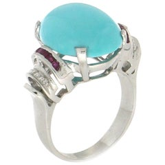 Turquoise, 18 Karat White Gold, Diamonds and Ruby, Cocktail Ring