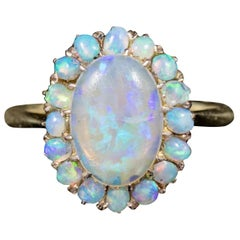 Antique Victorian Natural Opal Cluster Ring 18 Carat Gold, circa 1900