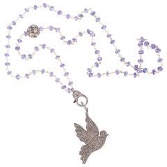 Clarissa Bronfman Blue Garnet Diamond Dove Wired Beaded Necklace