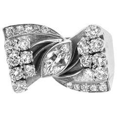 14 Karat White Gold 2 Carat Diamonds 1960s Cocktail Ring