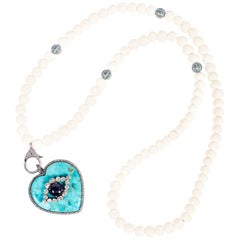 Clarissa Bronfman Turquoise, Diamond, Bone, Sapphire Diamond Heart Necklace