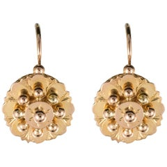 French 19th Century Rose Gold Drop Earrings