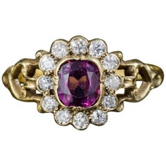 Antique French Victorian Amethyst Diamond Cluster Ring 18 Carat Gold, circa 1860