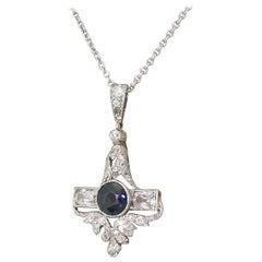 Art Deco Sapphire and Old Cut Diamond Platinum Pendant