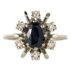 French 1970s Sapphire Diamonds White Gold Ring