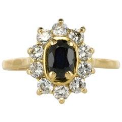 Modern Sapphire Diamonds 18 Karat Yellow Gold Ring