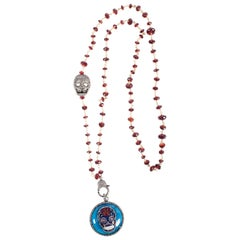 Clarissa Bronfman Garnet, Diamond, Enamel, Silver Skull Beaded Necklace