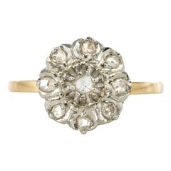 French 19th Century Rose-Cut Diamonds Yellow Gold Cluster Daisy Ring