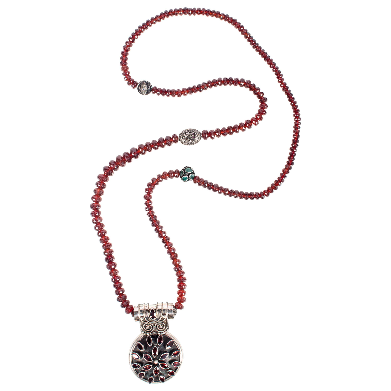 Clarissa Bronfman Garnet, Emerald, Diamond, Ruby, Silver Beaded Pendant Necklace