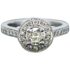 Modern 0.42 Carat Diamond Halo Cluster White Gold Engagement Ring