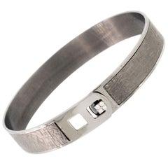 18K White Gold & 0.08 cts White Diamond Men's Radiant Strap Bracelet by Alessa