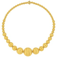 18 Karat Italian Yellow Gold Graduated Textured Bead Necklace