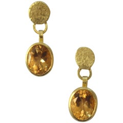 Citrine 18 Karat Gold Drop Earrings Handmade by Disa Allsopp
