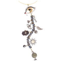Clarissa Bronfman 'Dali's Girl' Symbol Tree Necklace Sapphire, Diamond, Ebony