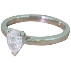 0.61 Carat Pear Cut Diamond Platinum Engagement Ring