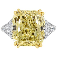 GIA Certified 12.15 Carat Yellow Diamond Three-Stone Engagement Ring