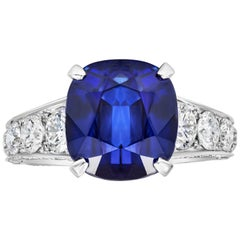7.66 Carat Blue Sapphire and Diamond Graduating Pave Engagement Ring