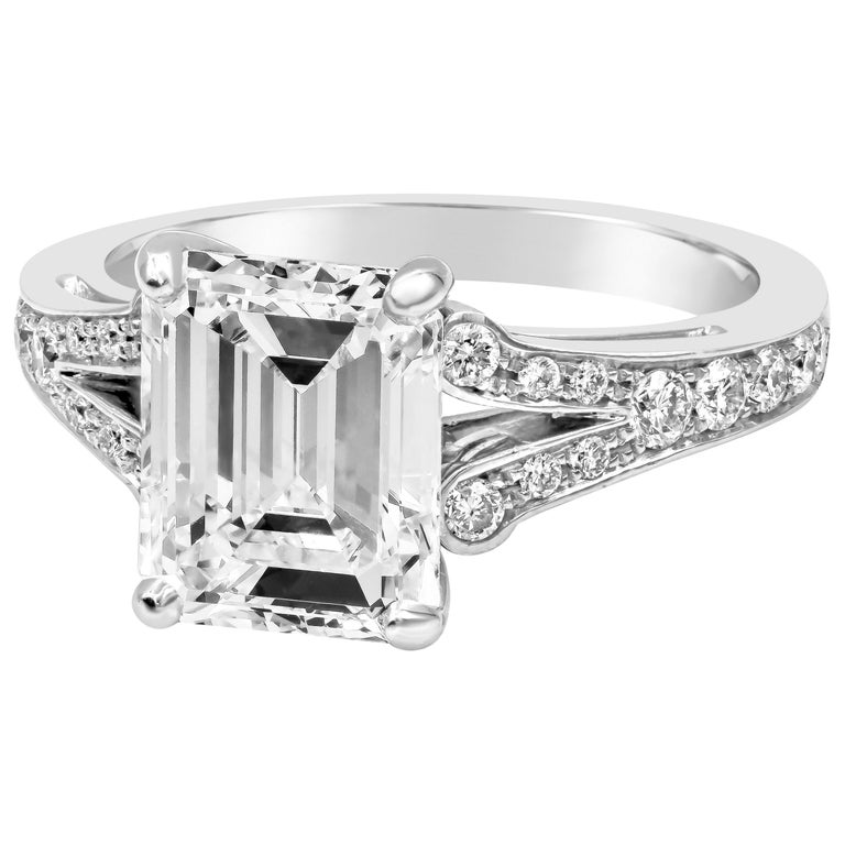 c5b86f9e2326c1 GIA Certified 3.01 Carat Emerald Cut Diamond Split-Shank Engagement Ring  For Sale