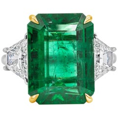 Roman Malakov, GIA Certified Green Emerald Diamond Three-Stone Engagement Ring