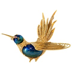 Hummingbird Brooch in 18 Karat Yellow Gold and Enamel