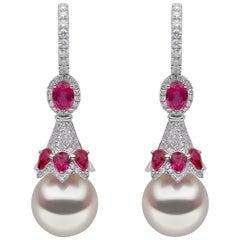 Yoko London South Sea Pearl, Diamond and Ruby Earrings Set in 18 Karat Gold