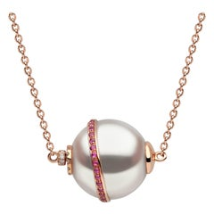 Yoko London South Sea Pearl, Diamond and Ruby Necklace Set in 18 Karat Rose Gold