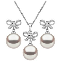Yoko London South Sea Pearl and Diamond Pendant and Earring Set in 18 Karat Gold
