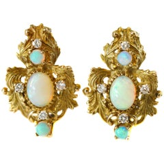 3 Carat Opal and 0.40 Carat Total Diamond Yellow Gold Earrings