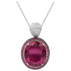 Tourmaline Pink Diamond Pendant Necklace with Tourmaline Oval Shape