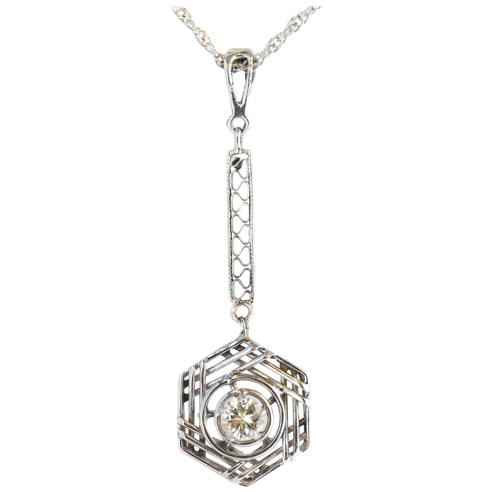 0.25 Carat Diamond Necklace with 14 Karat White Gold Filigree Pendant