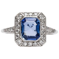 Art Deco Inspired 1.65 Carat Sapphire Diamond Platinum Ring