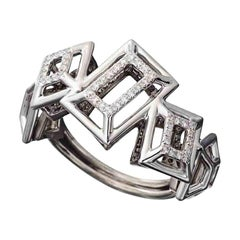 18 Karat White Gold Rhodium Silver White and Black Diamonds Ring Aenea Jewellery