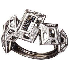 18 Karat Gold Rhodium Silver White and Black Diamonds Black Spinel Ring Aenea