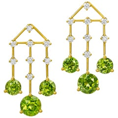 Wendy Brandes August Birthstone Peridot 1.41 Carat Diamond Chandelier Earrings