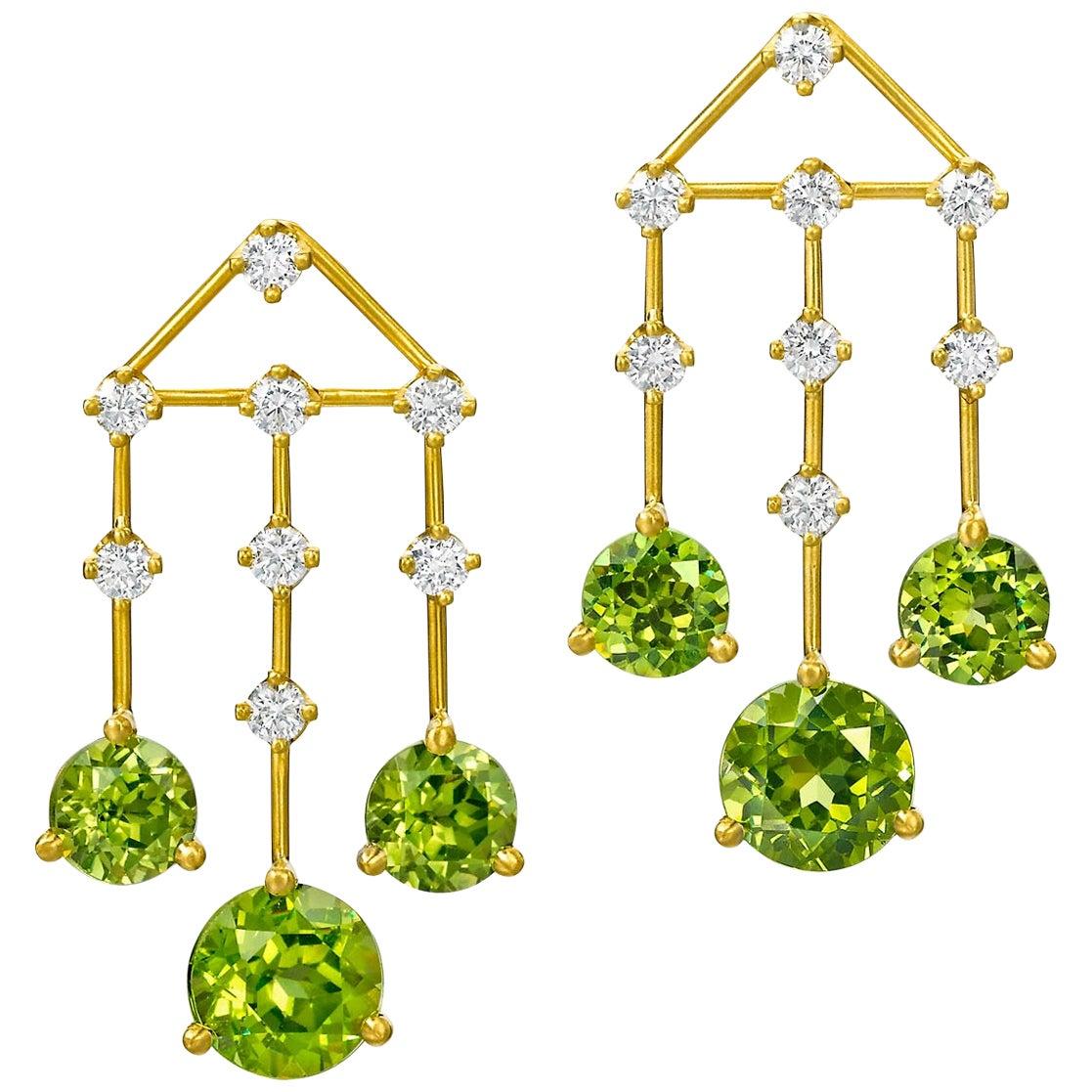 Wendy Brandes August Birthstone Peridot 1.41 Carat Diamond Chandelier Earrings