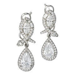 Platinum 950 White Diamonds 3.69 Carat Earrings Aenea Jewellery