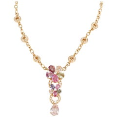 Bulgari Flora Sapphire and Diamond Necklace in 18 Karat Gold 15.75 Carat