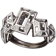 18 Karat Pink Gold Rhodium Silver White and Black Diamonds Black Spinel Ring