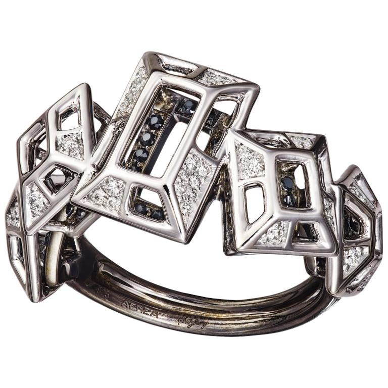 18 Karat Pink Gold Rhodium Silver White and Black Diamonds Black Spinel Ring For Sale