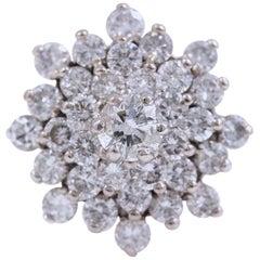 Diamond Cocktail Flower Cluster Ring 14 Karat White Gold 3.38 Carat